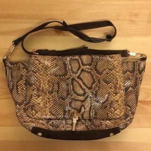 Elizabeth and James Snakeskin And Suede Purse